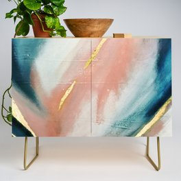Celestial [3]: a minimal abstract mixed-media piece in Pink, Blue, and gold by Alyssa Hamilton Art Credenza
