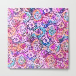 Watercolour & Rainbow Ink Flowers , Colorful Floral Painting Metal Print