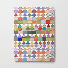 Modern Tribal Geometric, Multi Pastels on White Metal Print