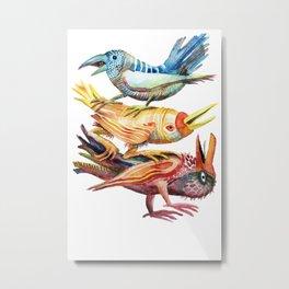 Three Birds Stacked Metal Print