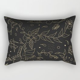 Gold foil floral pattern and geometric triangles on grey Rectangular Pillow