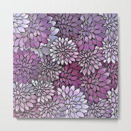 Stain Glass Floral Abstract - Purple-Lavender Metal Print