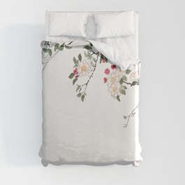 pink cherry blossom Japanese woodblock prints style Duvet Cover