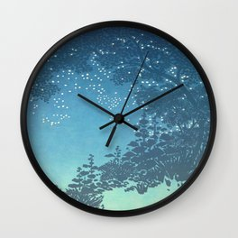 In the night - George Auriol - 1904 Sky Tree Firefly Silhouette Blue Turquoise Ombre Wall Clock