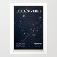 minimal Art Prints featuring THE UNIVERSE - Space | Time | Stars | Galaxies | Science | Planets | Past | Love | Design by Mike Gottschalk