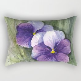 Purple Pansies Watercolor Flowers Painting Violet Floral Art Rectangular Pillow