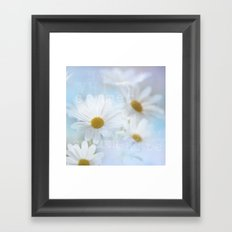 white daisies with text Framed Art Print