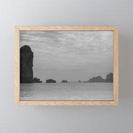 Surreal foggy seascape (Ha Long bay, Vietnam) Framed Mini Art Print