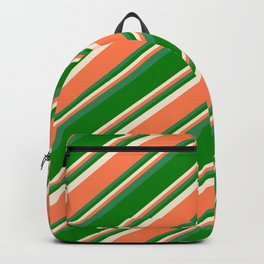 Beige, Coral, Sea Green, and Green Colored Pattern of Stripes Backpack