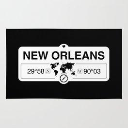 New OrleansLouisiana Map GPS Coordinates Artwork Rug