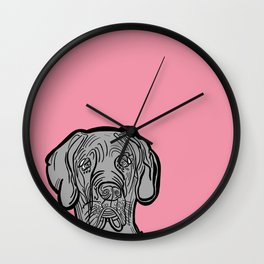 The Pinkest of the Great Dane Wall Clock