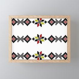 Traditional Romanian folk art knitted embroidery pattern Framed Mini Art Print