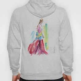 fashion #61: Woman in a long multicolor dress Hoody