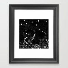 Elephant and Stars Framed Art Print
