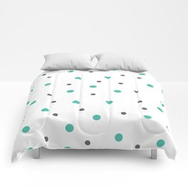 Grey and Mint Dots Seamless Pattern Comforters