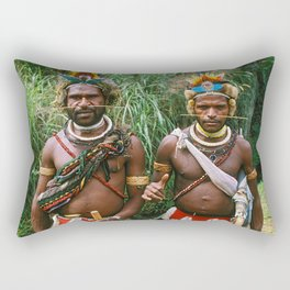 Papua New Guinea: Two Countryside Villagers Rectangular Pillow