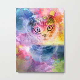 Staring Cat Eyes Metal Print