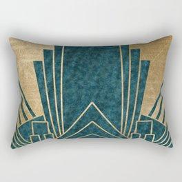 Art Deco glamour - teal and gold Rectangular Pillow
