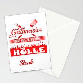 """""""Ein Grillmaster Kommt Nicht In Den Himmel Er Fahrt Zur Holle Und Legt Dort Ein Steak Auf"""" T-shirt Stationery Cards"""