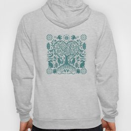 Rustic Early American Tree Of Life Woodcut Hoody