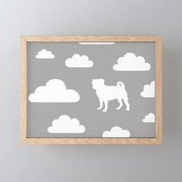 Pug Clouds - Grey Framed Mini Art Print