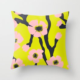 Pink Blooms Everywhere No 03 Throw Pillow