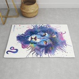 Watercolor Leo Zodiac Splatters Lion Rug