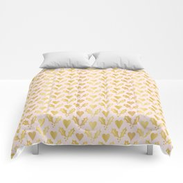 Luxe Rose Gold Foil Christmas Holly Berries Heart Pattern, Seamless Comforters