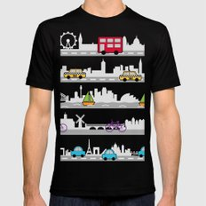 City travel Black Mens Fitted Tee LARGE