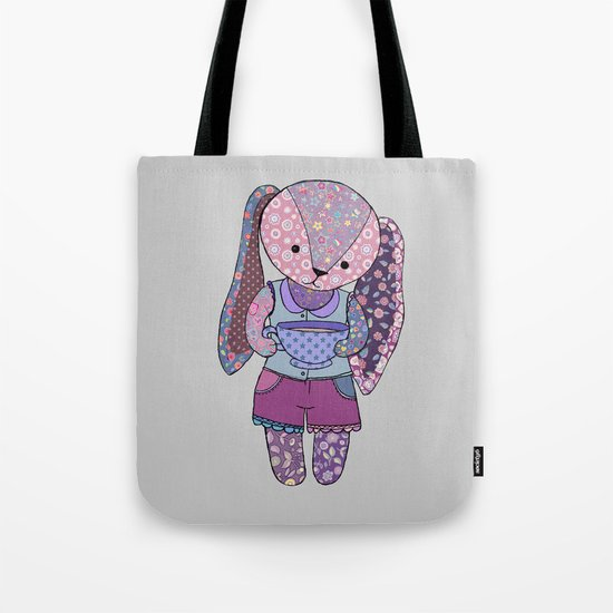 Have a cup of tea with me? - cute patchwork bunny Tote Bag