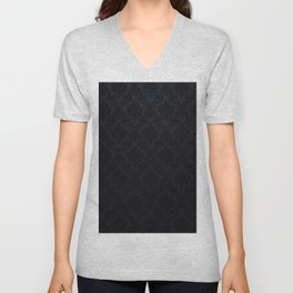 Black damask - Elegant and luxury design Unisex V-Neck