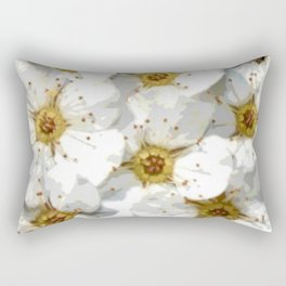 Flowers | Flower | Nadia Bonello | Vintage Inspired White Flowers Rectangular Pillow