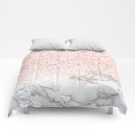 Pretty Rosegold Marble Sparkle Comforters