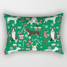 Bull Terrier christmas holiday pet pattern stockings presents dog breed gifts Rectangular Pillow