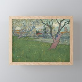 Vincent van Gogh - Orchard in Blossom, View of Arles (1889) Framed Mini Art Print