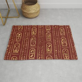 Egyptian hieroglyphs Gold on Red Leather Rug