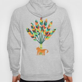 Whimsical travelers palm with tiger Hoody