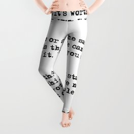 For what it's worth - F Scott Fitzgerald quote Leggings