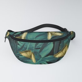 Tropical Butterfly Jungle Night Leaves Pattern #6 #tropical #decor #art #society6 Fanny Pack