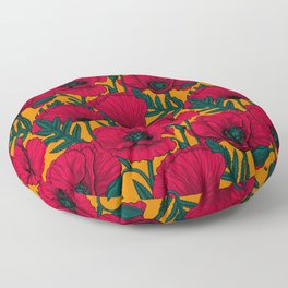 Red poppy garden Floor Pillow