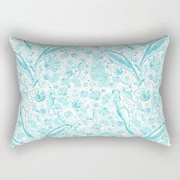 Mermaid Toile - Teal Rectangular Pillow