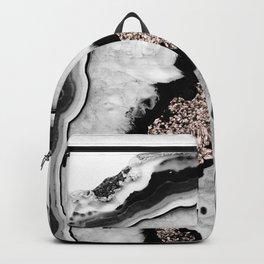 Gray Black White Agate with Rose Gold Glitter #1 #gem #decor #art #society6 Backpack