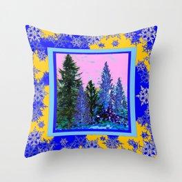 YELLOW-BLUE WINTER SNOWFLAKES  FOREST TREE  ART Throw Pillow