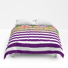 Bold Purple Stripes Gold Dust Floral Comforters