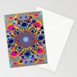 Grey Multi Colored Geometric Optical Art Stationery Cards