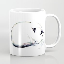 Sleeping Cat with Colorful Tail Coffee Mug
