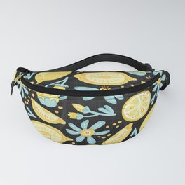 Lemon Pattern Black Fanny Pack