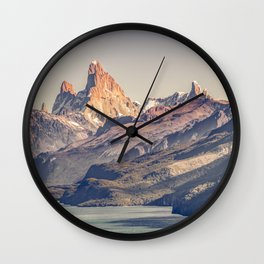 Fitz Roy and Poincenot Andes Mountains - Patagonia - Argentina Wall Clock