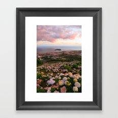 Azorean town at sunset Framed Art Print