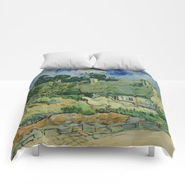 "Vincent van Gogh ""Thatched Cottages at Cordeville"" Comforters"